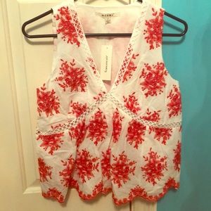 Francesca's summer red and white blouse tank top
